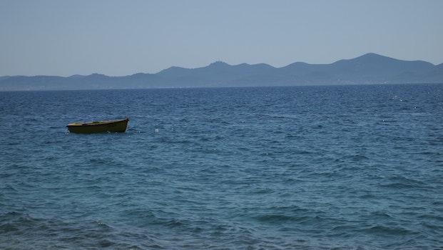 Free stock photo of sea, blue, boat, coast mountains