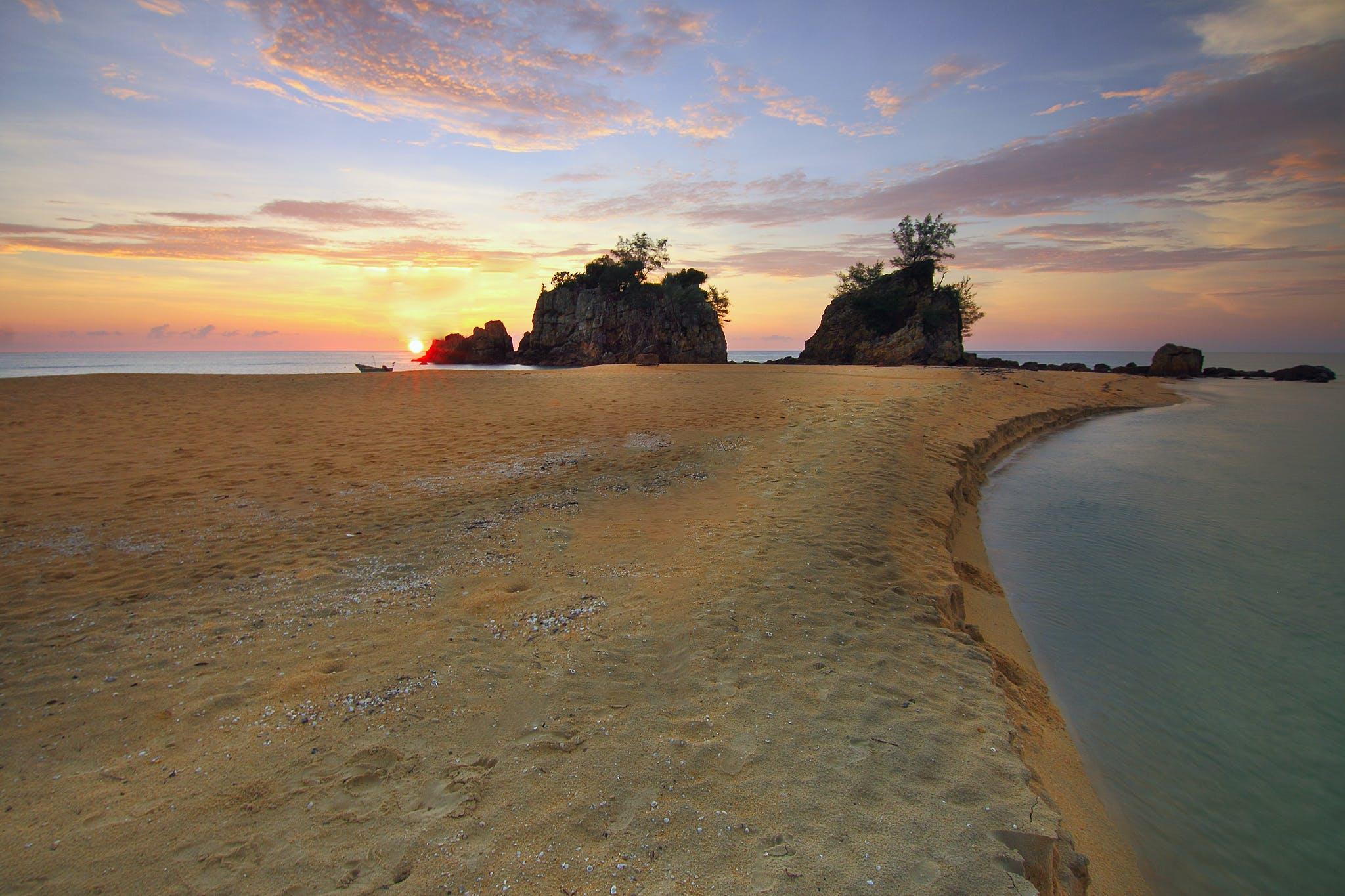 cliff, clouds, dawn