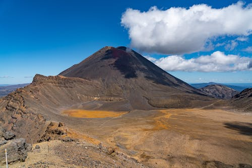 Picturesque scenery of white clouds floating in blue sky over volcanic Mount Tongariro located in New Zealand