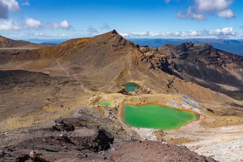 From above of spectacular Emerald Lake surrounded by rocky volcanic mountains in Tongariro National Park in New Zealand