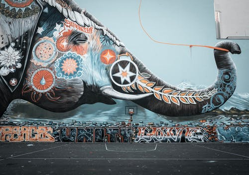 Multi Colored Elephant Graffiti