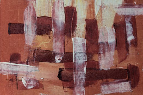 Brown White and Black Abstract Painting