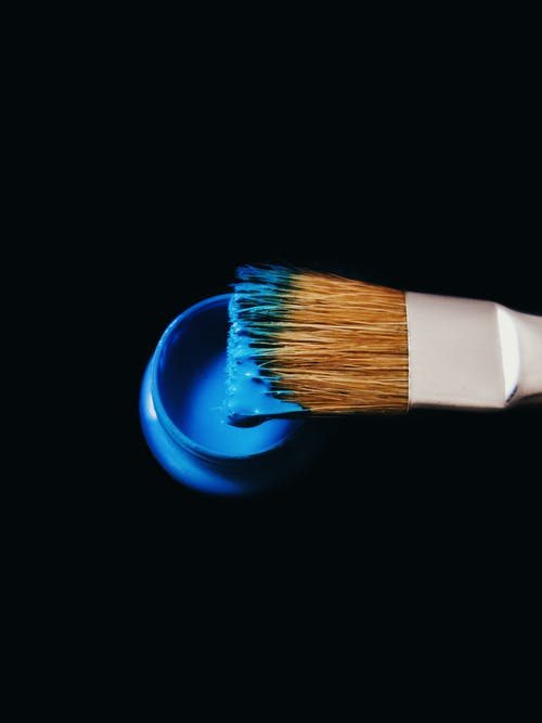 Blue and White Paint Brush