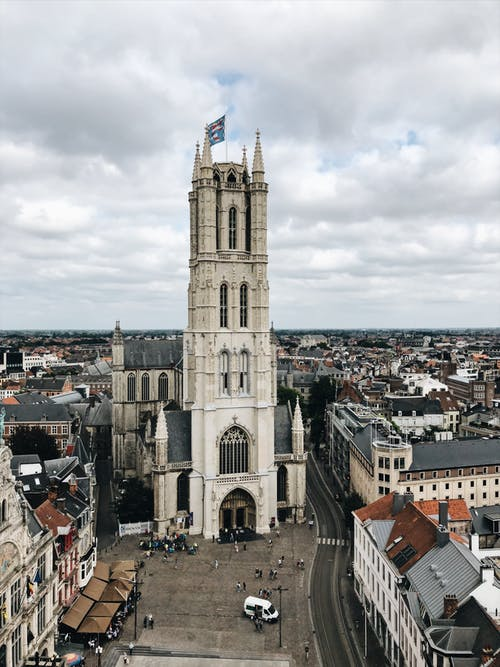 Saint Bavo's Cathedral Under Cloudy Sky