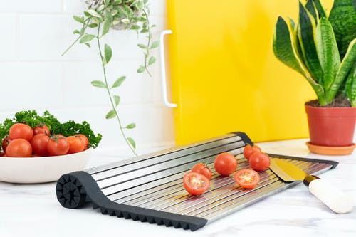 Red Tomatoes on Grey Tray