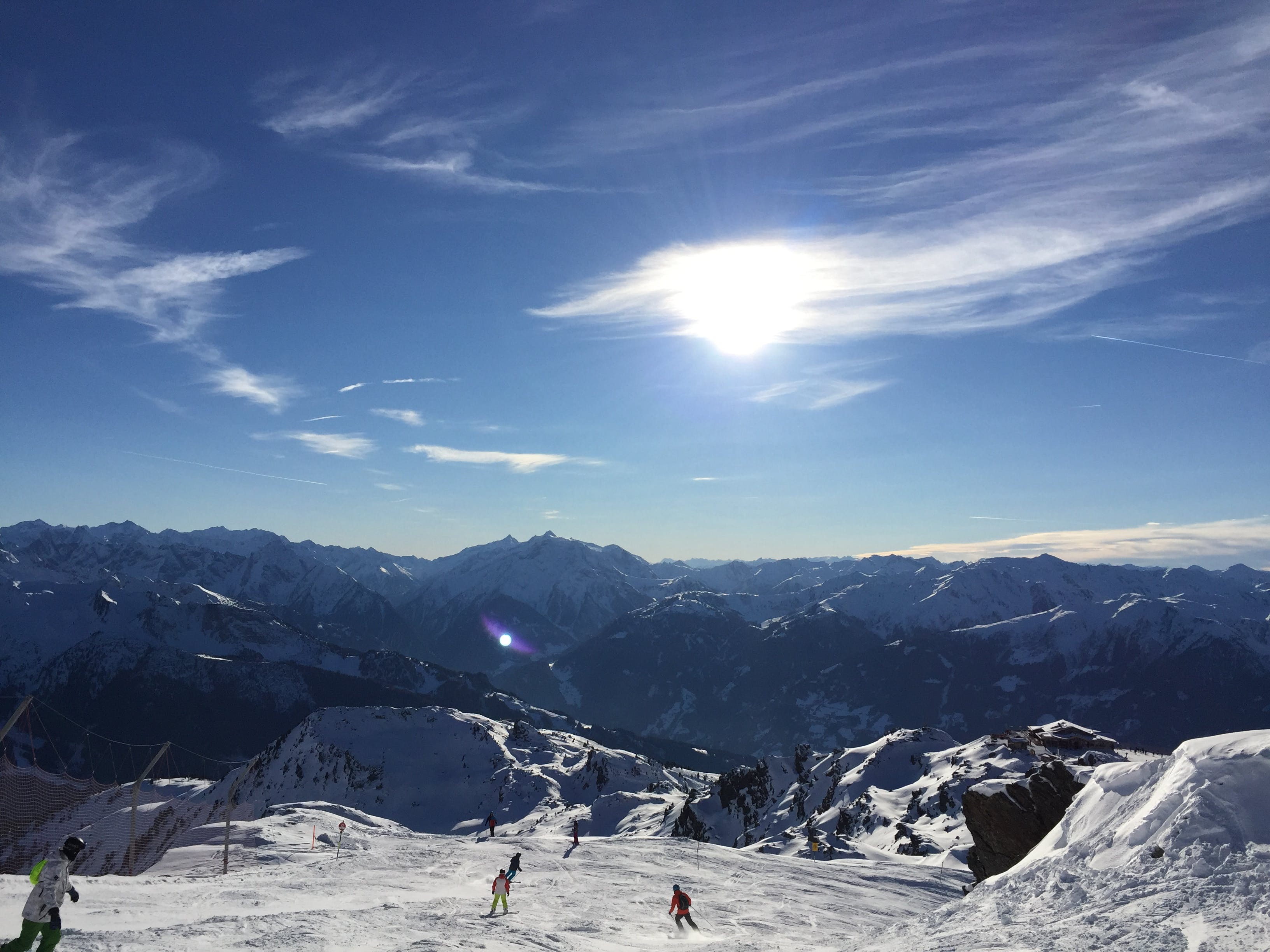 Free stock photo of mountains, ski tour, snow, sun glare
