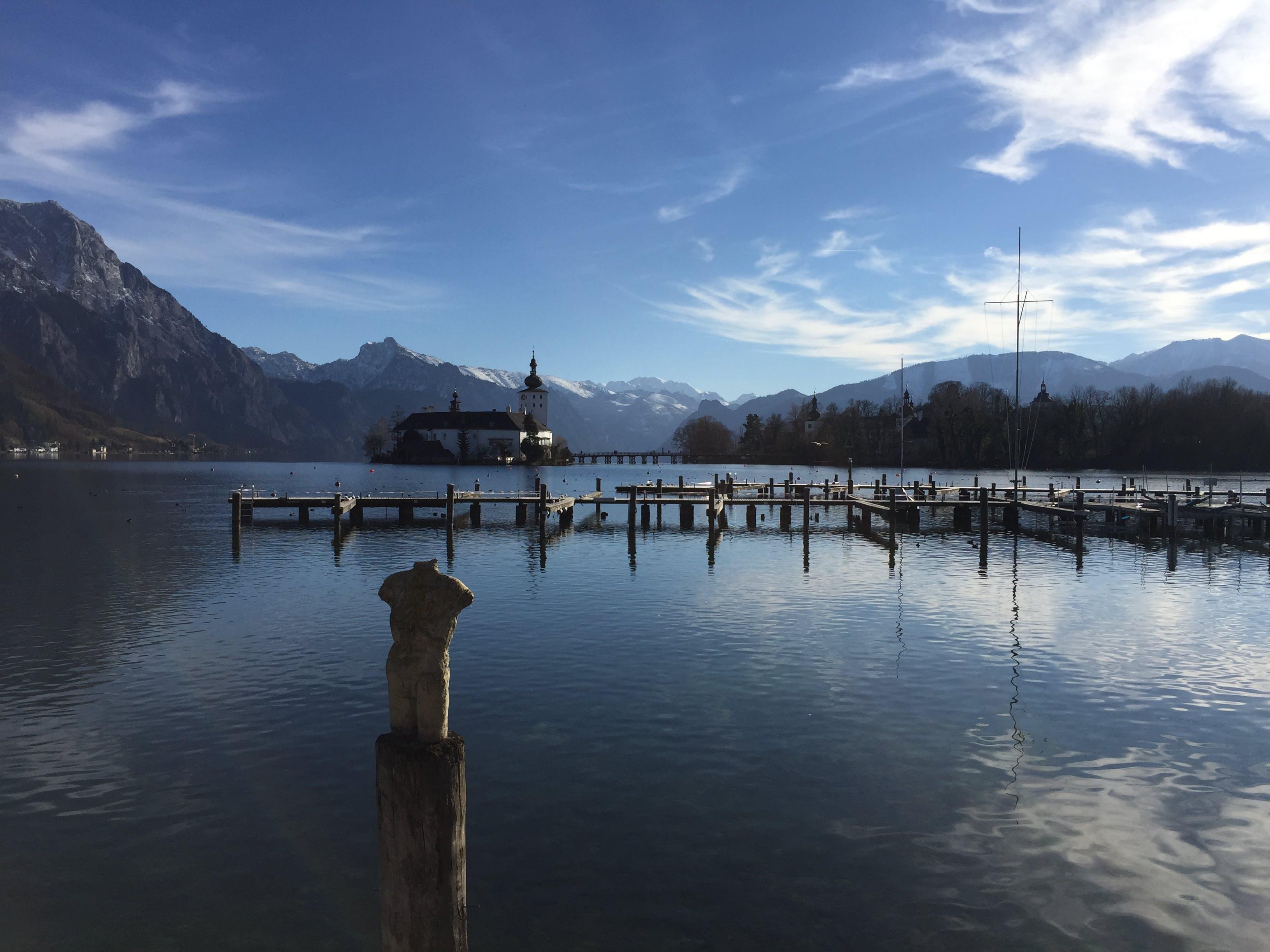 Free stock photo of castle, lake, mountains