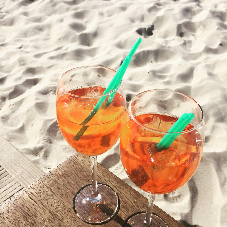 Free stock photo of aperol spritz, beach, drinks, glass