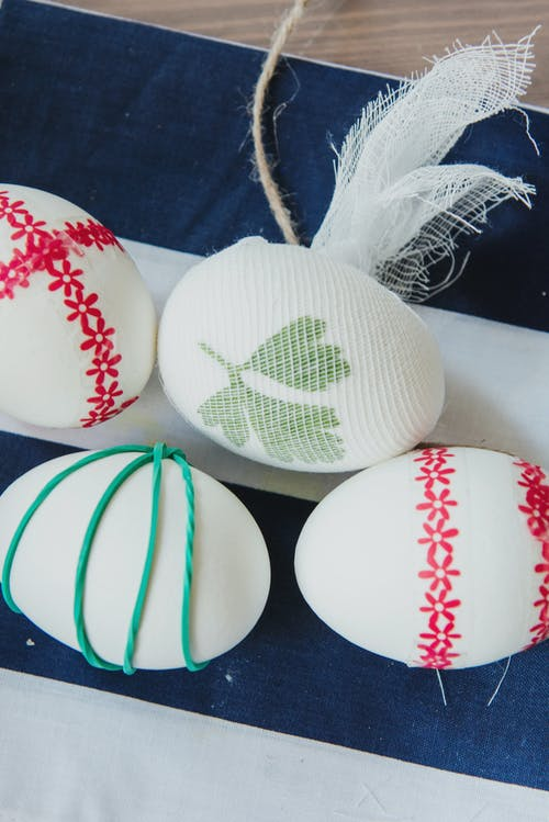 White and Green Egg Decor