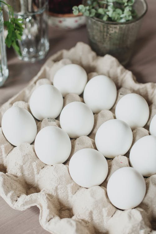 White Eggs on Brown Tray