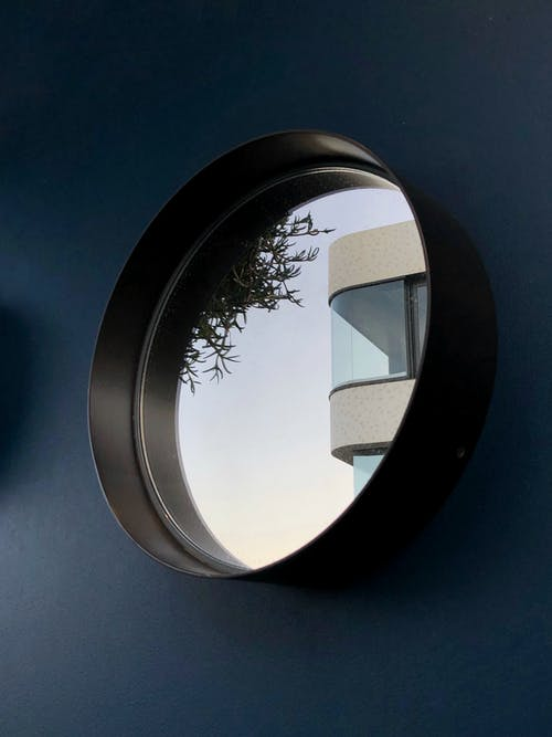 Round Mirror With Black Frame