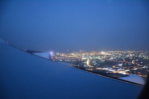 Kostnadsfri bild av blå himmel, flygvy, nattlampor, staden på natten