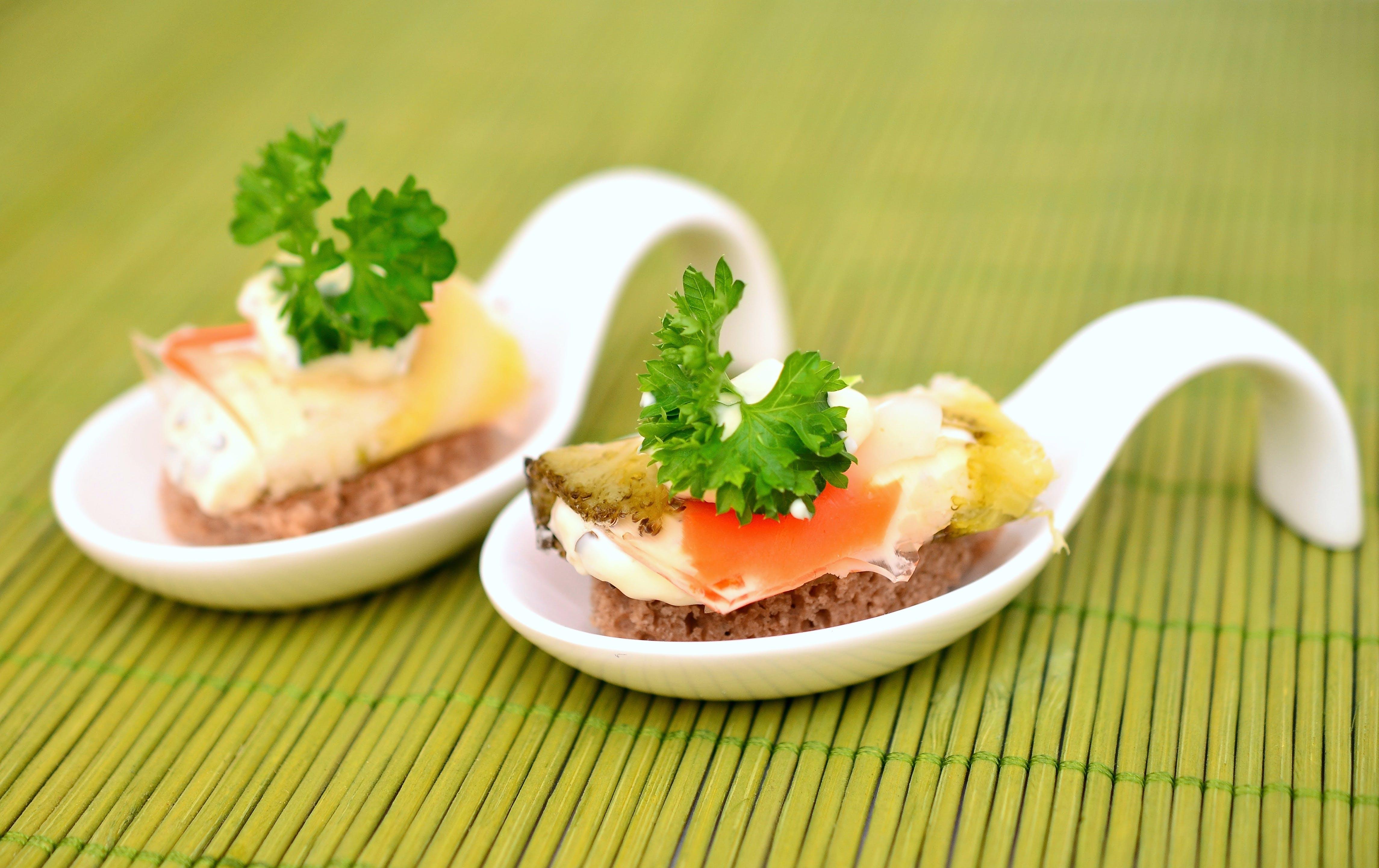 Food on White Ceramic Spoon