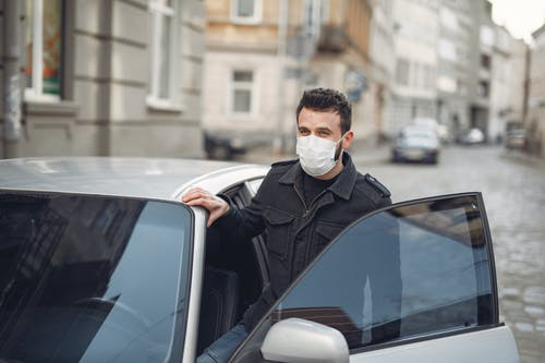 Man in Black Leather Jacket Wearing White Mask