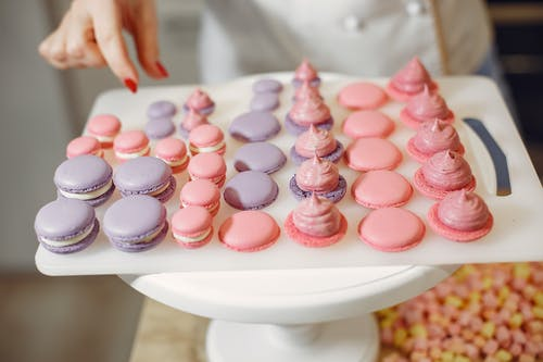 Purple and Pink Macaroons with Cream