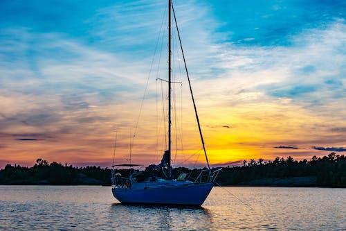 Ingyenes stockfotó ég, hajnal, hajóm csónak, naplemente témában