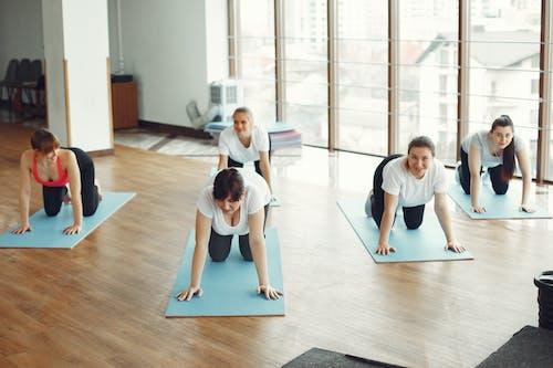 Group of women doing exercise in fitness center