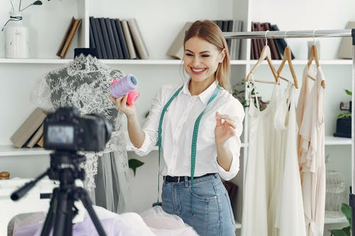 Dressmaker Filming Her Self Happily