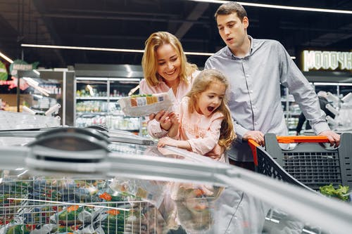 Family Having Fun Doing Grocery Shopping