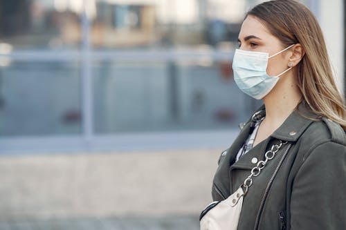Woman in Gray Coat Wearing Face Mask