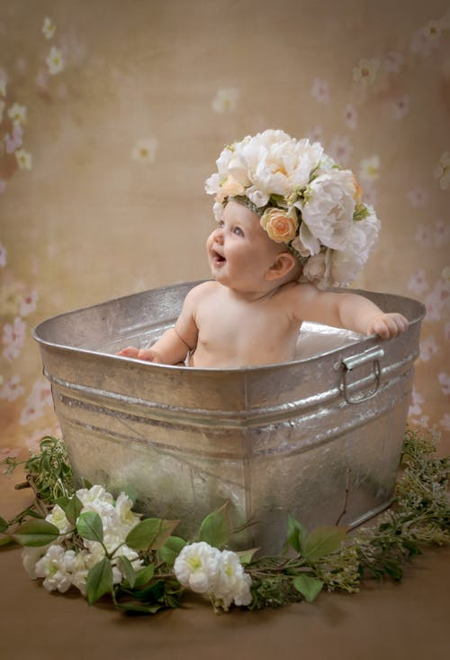 Free stock photo of baby, metal tub, nutrual colors