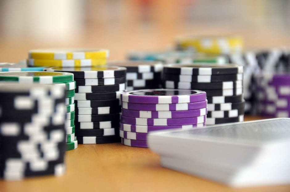 Blue Green and Purple Poker Chips