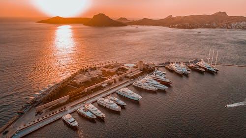 Free stock photo of açık deniz, ahşap tekne, Akşam gökyüzü, bodrum
