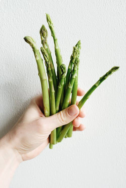 Person Holding Green Asparagus