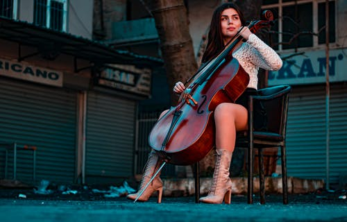 Woman Playing Cello on the Street