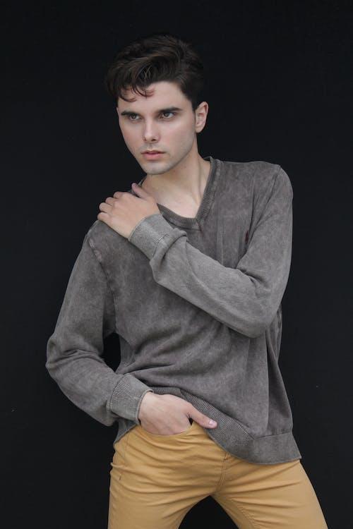 Man in Gray Long Sleeve Sweater