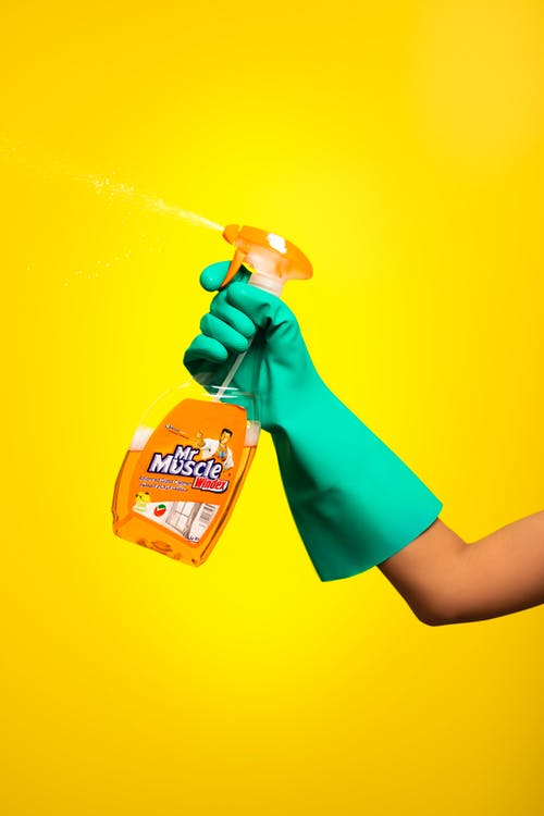 Person Holding Cleaning Product