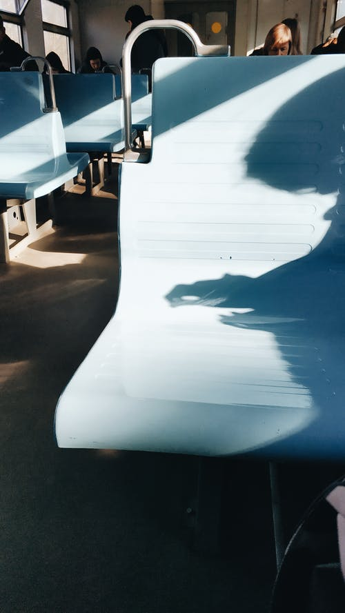 Shadows on a Blue Bench