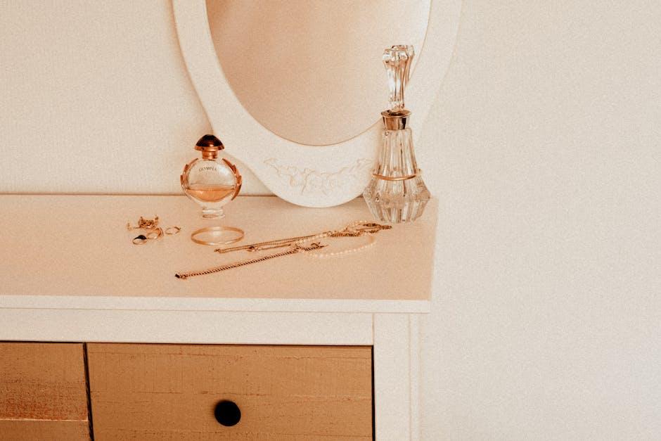 White wooden vanity table