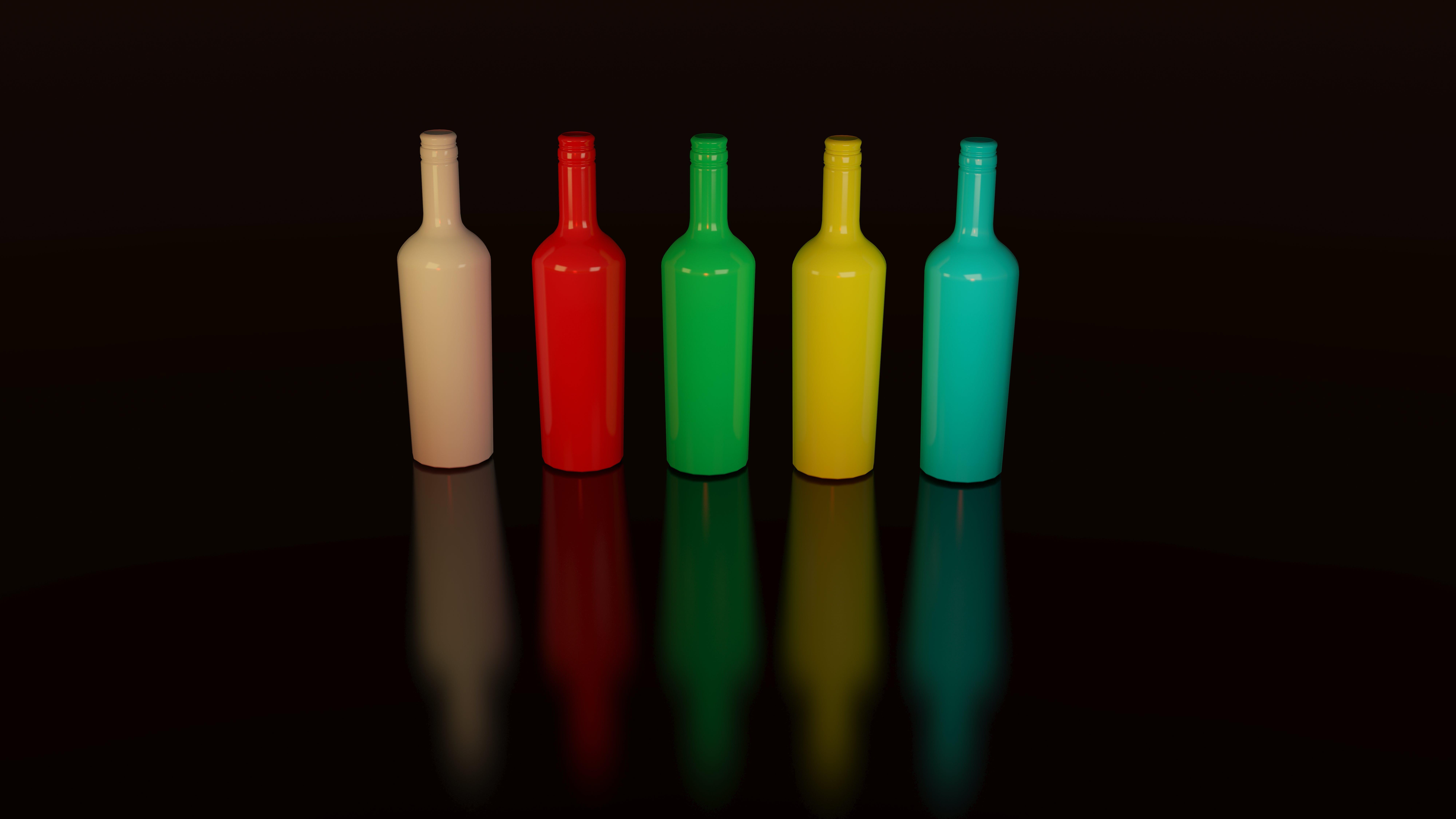 Five Bottles on Black Surface