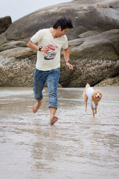 Man and His Pet Dog Running on the Shore