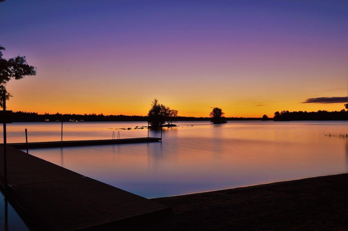 물, 새벽, 역광을 받은