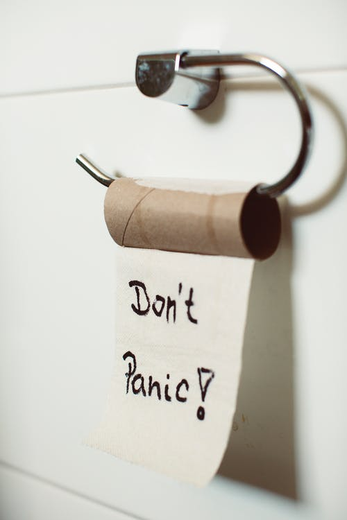Don't Panic Text on Toilet Paper