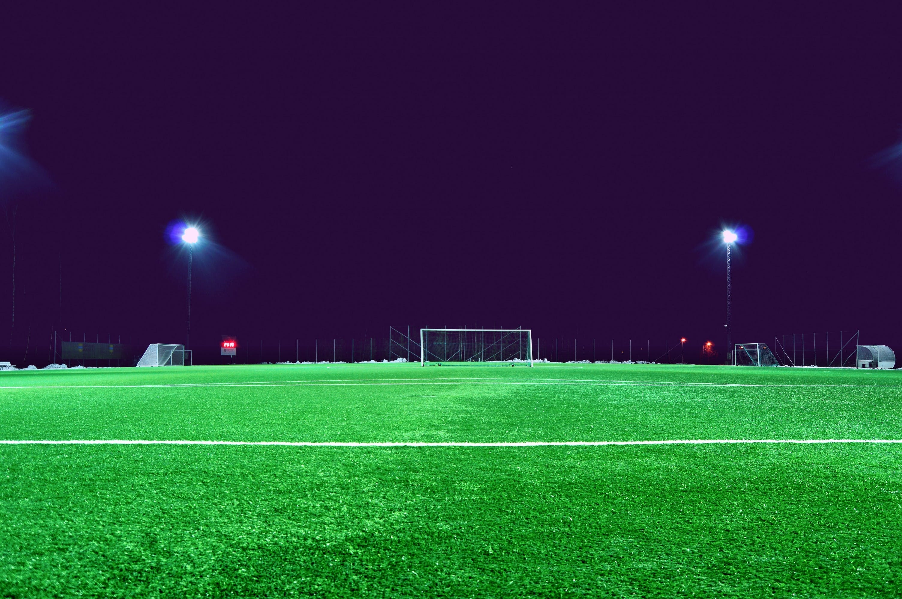 evening, field, football field