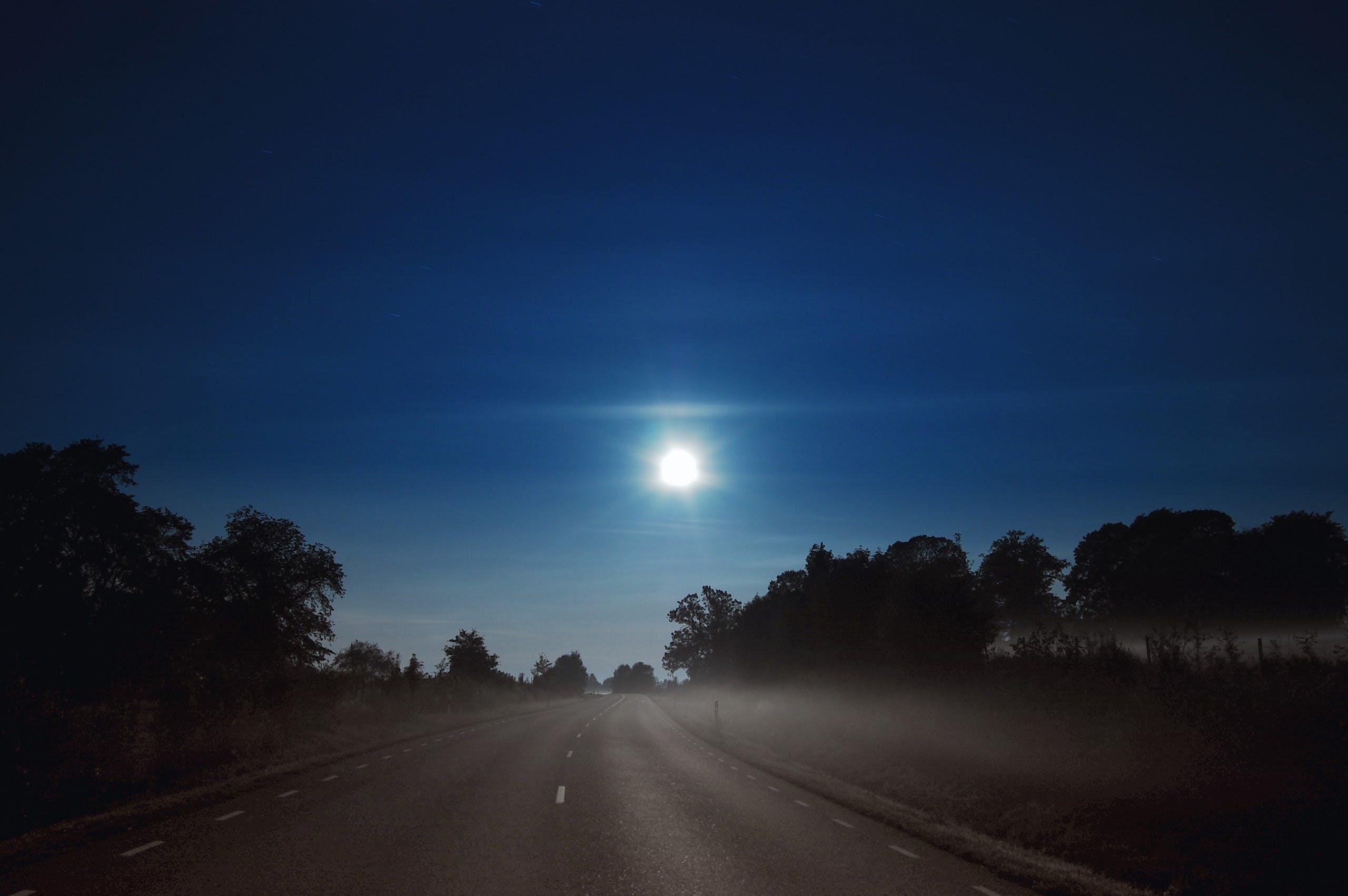 fuldmåne, landskab, nat
