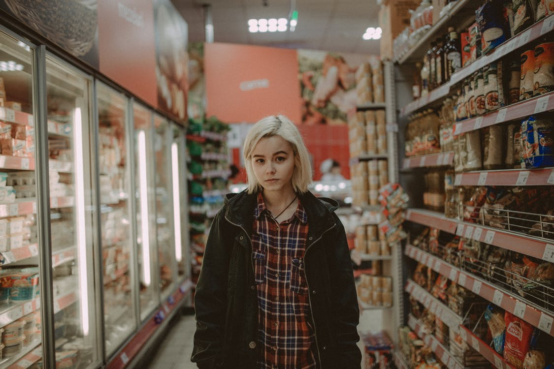 Woman Inside the Convenience Store