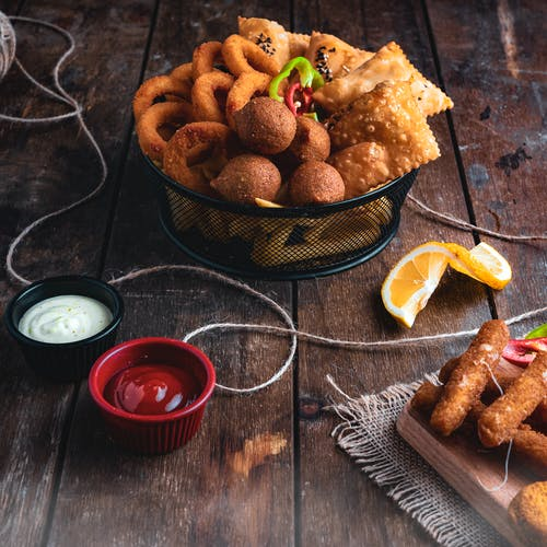 Yummy Fried Food on Steel Basket