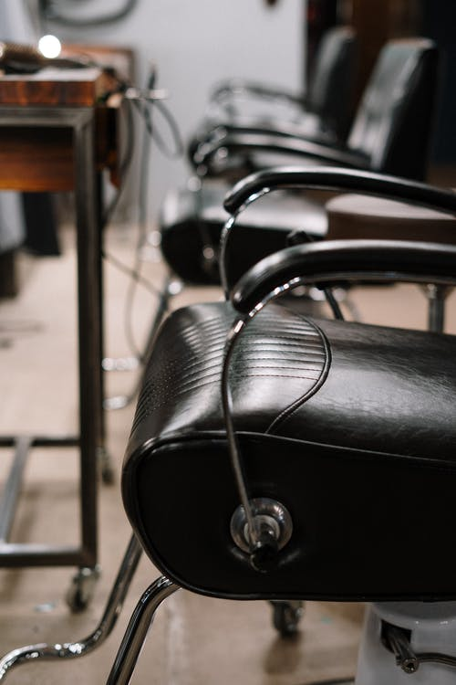 Black Leather Padded Stainless Steel Chair