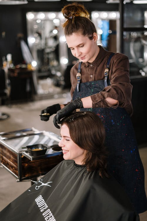 Woman Getting Her Hair Color