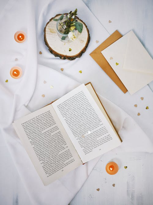 White Book Page on White Table Cloth