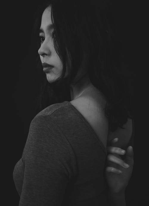 Woman in Black and White Photo