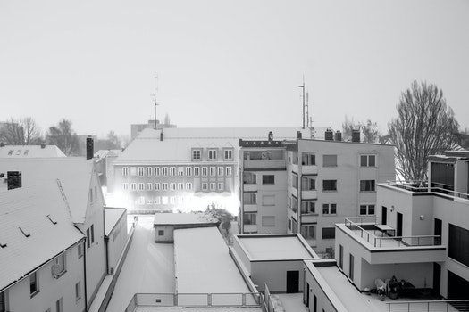 Free stock photo of snow, black-and-white, street, rooftop