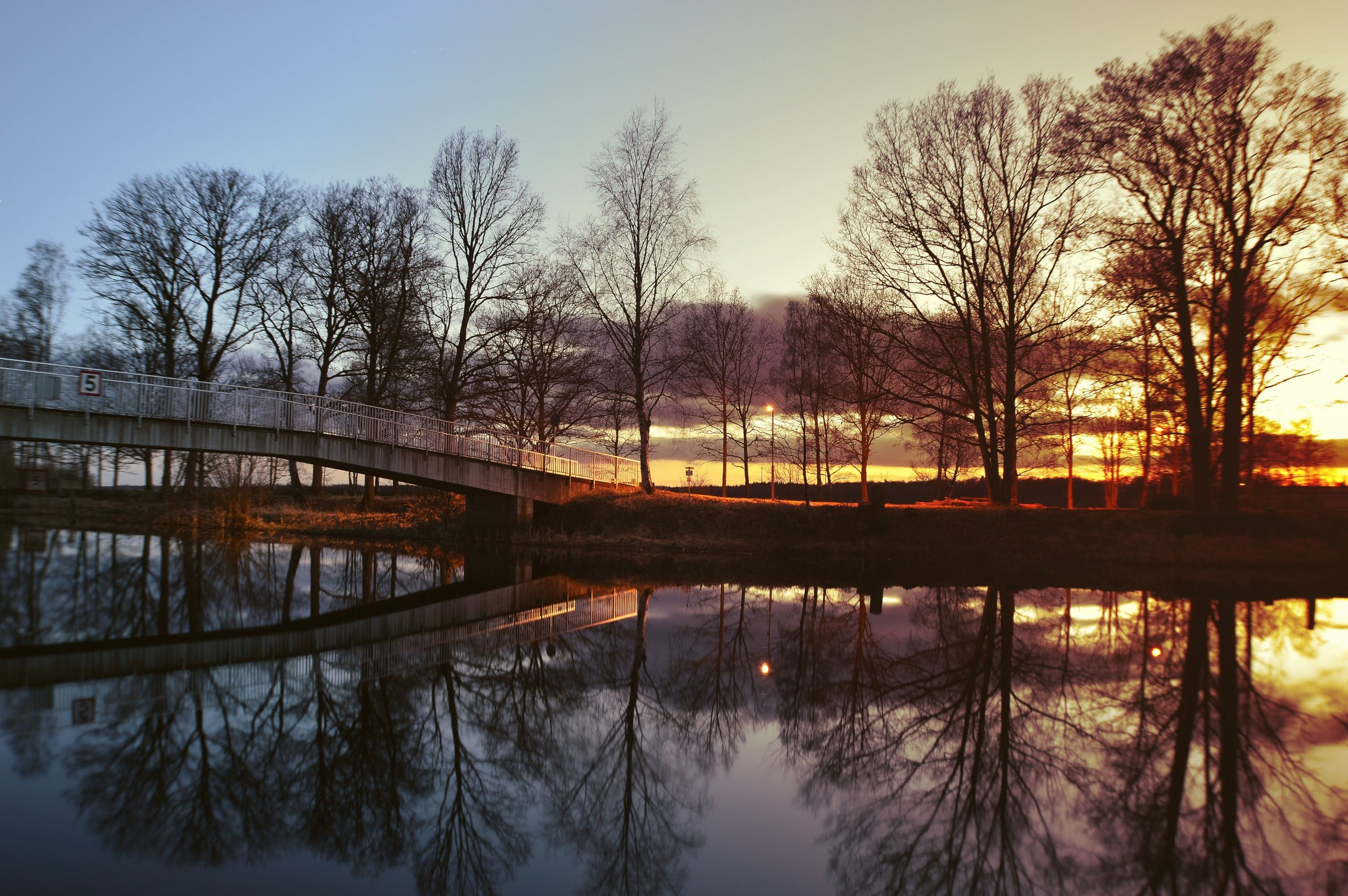 bridge, dawn, dusk