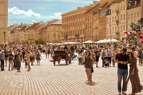 Tourists in the Old Town of Warsaw