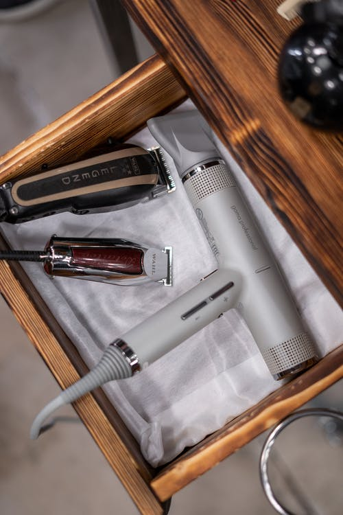 Barber Tools in a Wooden Drawer