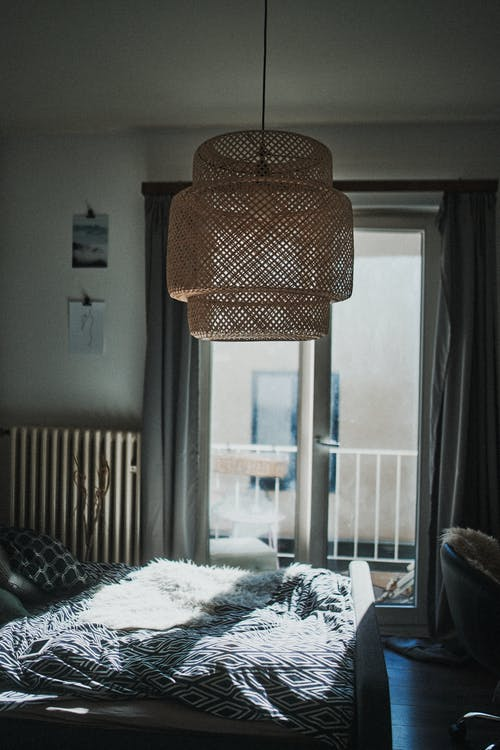 Wood Pendant Lamp In A Room